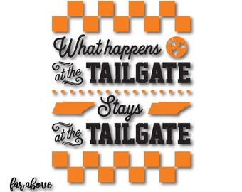 Tennessee TN Tristar What Happens at the Tailgate Stays Checkerboard SVG, EPS, dxf, png, jpg digital cut file for Silhouette or Cricut