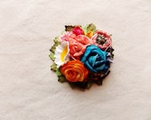 Peacock blue orange strawberry pink white yellow green daisy mix Handmade Roses Vintage style Millinery flower corsage