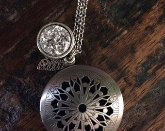 White Druzy Druzie Feather Antique Silver large Filigree Diffuser Boho Necklace use with Young Living Essential Oils