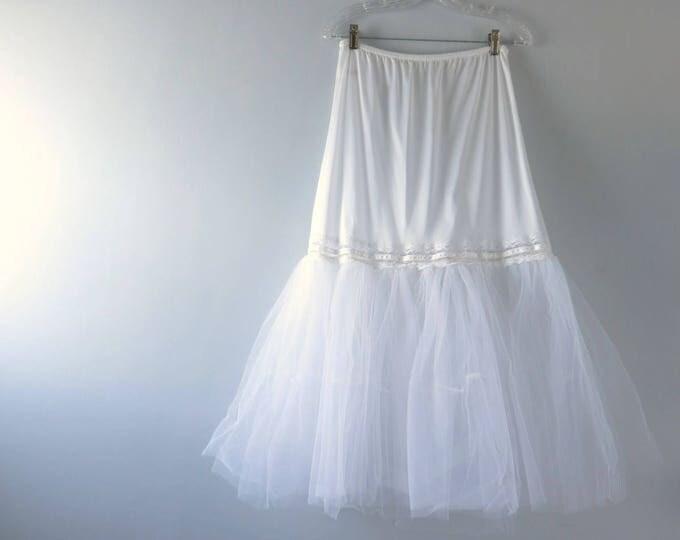 Vintage White Tulle Petticoat  | 1970s White Tulle Petti Slip L  | Tulle Bridal Slip Wedding Silhouette Slip