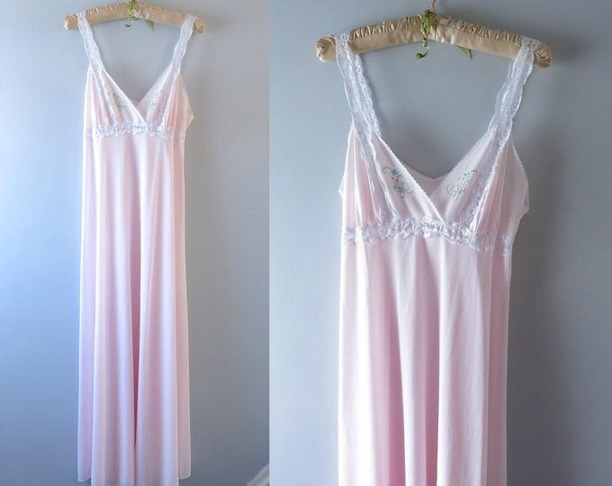 Vintage Pink Nightgown | 1970s Pale Pink Nylon Gown Embroidered M