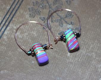 Colorful Stone Earrings Copper Hoop Modern Luxe Boho Earrings Rustic Jewelry