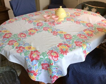 Vintage Tablecloth Colorful Squares of Iris Tulips & Daisies