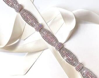 Sash - Gorgeous Wedding Dress Sash with Aurora Borealis Crystals - AB Crystal Rhinestone Bridal Belt - AB Headband