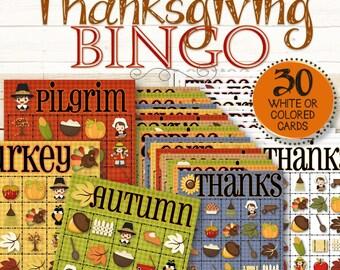 30 Thanksgiving Bingo Cards - INSTANT DOWNLOAD