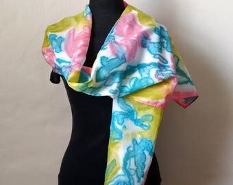 Silk Scarf in Sky Blue, Salmon Pink, Leaf Green, Hand Painted Silk, 14x69 inches, Summer Scarf, Silk Scarf, Gift for Her, Gift for Women