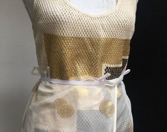 Golden silk pongee wrap skirt