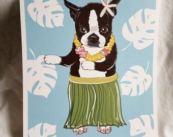 Hula Boston Terrier - Eco-Friendly 8x10 Print