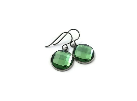Green rhinestone faceted dangle earrings - Pure titanium, stainless steel and glass