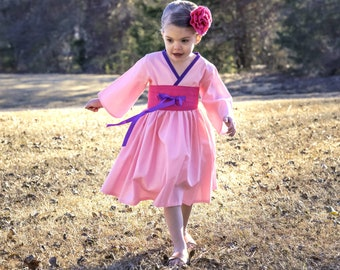 Pink Mulan Costume - Mulan Birthday - Girls Kimono Dress - Toddler Girl Clothes - Little Girl Dress - Preteen Dress  - 12 Mos - 14 yrs