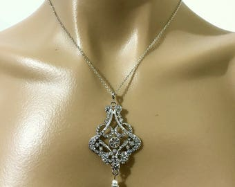 Statement Bridal Necklace, Art Deco Wedding Necklace, Gatsby Wedding Jewelry, Crystal Pearl Necklace, Geometric Bridal Jewelry, CARMEN