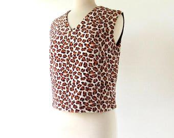 Vintage Leopard Shirt | Faux Fur | 60s Top | S M