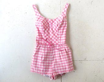 Vintage 1960s Swimsuit | Pink Gingham Romper | 60s Bathing Suit | XS