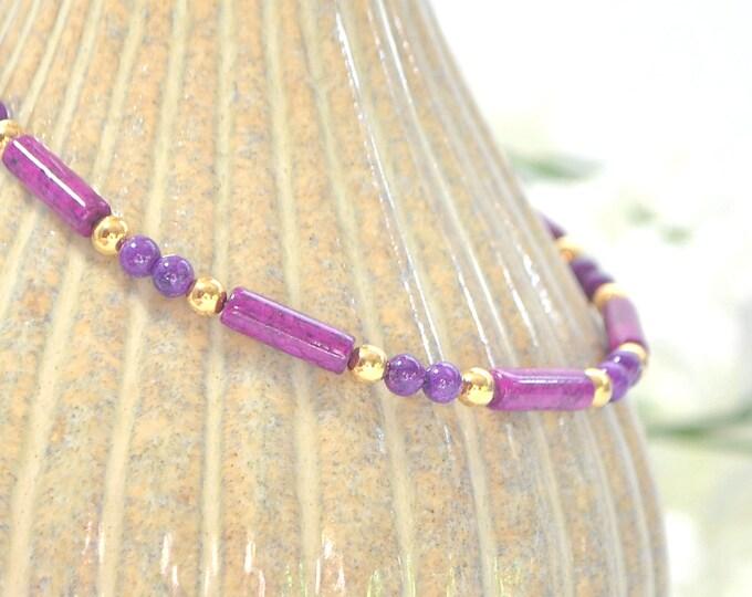 Magenta Ankle Bracelet Adjustable Anklet Minimalist Ankle Bracelet