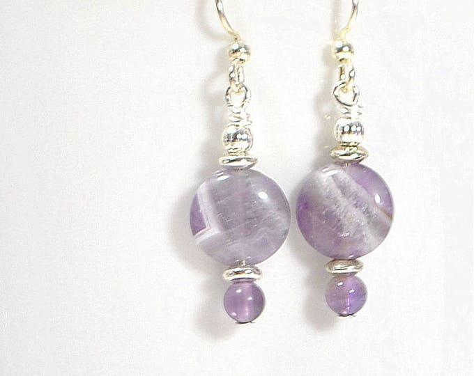 Purple Dangle Earrings Small Gemstone Earrings Handmade