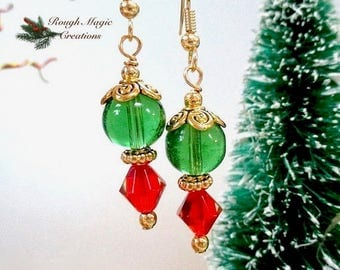 Renaissance Holiday Christmas Earrings, Green Baubles, Red Crystal Drops, Gold Accents, Merry & Bright, Colorful Xmas Gift for Women E458