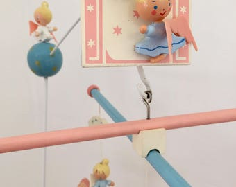 Vintage Irmi Nursery Originals musical angel mobile, 1960s midcentury wooden musical mobile, lullaby music box mobile