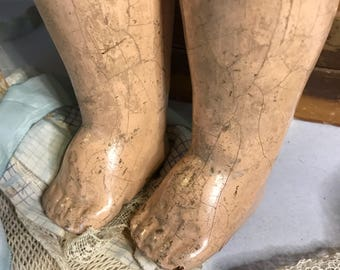 Antique Large Composition Doll Parts Legs Vintage Doll with Distressed Worn Patina Oddity Scary Doll Parts- G44