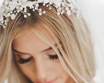 Pearl Bridal Crown, Wedding Hair Vine, Bridal Wreath, Silver Flower Crown, Crystal Vine, Gold Leaf Vine, Bridal Crown,  #1739