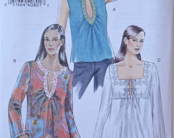 Vogue V8249 Sewing Pattern Misses' Tunic Top Deep Neckline Side Slits Flared Sleeves Self Lined Yoke UNCUT Factory Folds Sizes 6-8-10