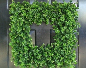 SUMMER WREATH SALE Front Door Wreath, 20 inch Square Boxwood Wreath (shown), Spring Outdoor Wreath,  Front Door Decor, Wedding Wreath, Thin