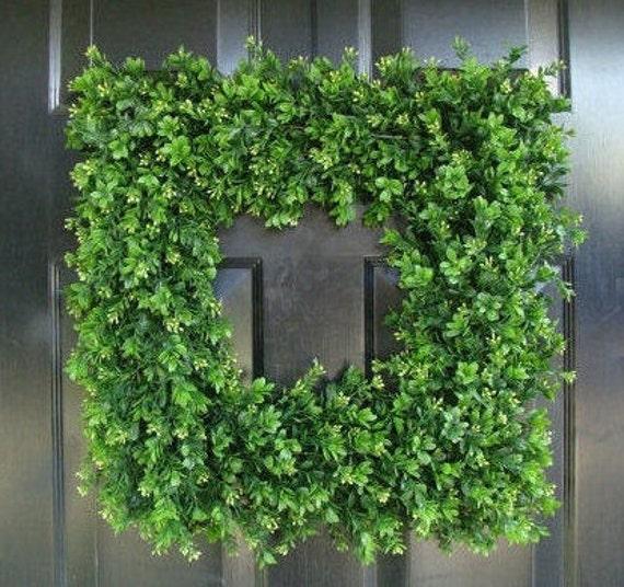 SUMMER WREATH SALE Front Door Wreath, 20 inch Square Boxwood Wreath (shown), Spring Outdoor Wreath,  Front Door Decor, Wedding Wreath, Thin