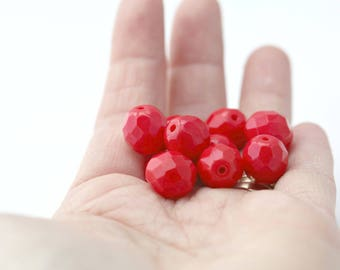 Czech Glass Beads Red Opaque Faceted Round 12mm (10)
