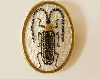 Hand Embroidered Longhorn Beetle Coleoptera Brooch Pin Entomology Natural History Wildlife Insect Nature Lover Gift