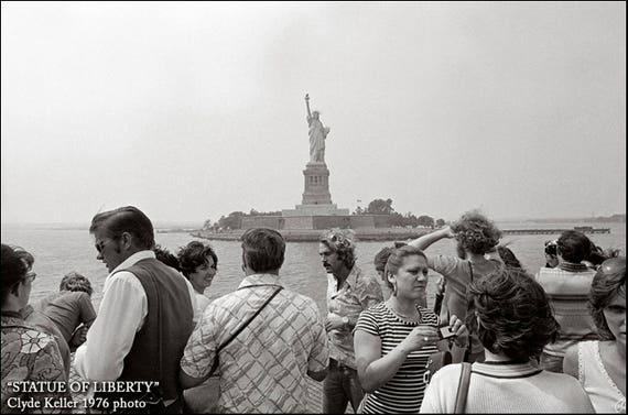 STAUE OF LIBERTY, view from ferry, Clyde Keller Photo, 1976