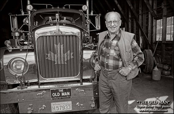 Skagit Valley, THE OLD MAN, Oldest Trucker, Clyde Keller photo, 1980
