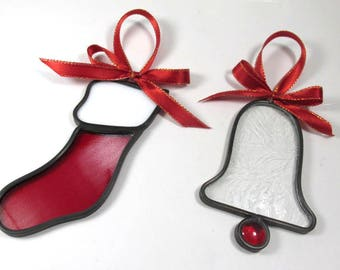 Christmas Bell or Stocking in Red and White Stained Glass Suncatcher or Ornament