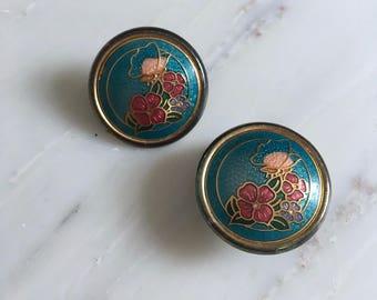 Jingtai cloisonné earrings | floral enamel earrings | vintage cloisonné