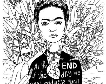 Frida Kahlo Coloring book page - black and white, LineArt Instant Download Printable,Digital Illustration, Adult coloring