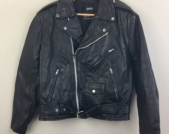 Vintage Classic Wilsons BIKER Jacket Black Leather 80s 90s M