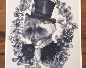 Top Hat Fox - A4 Art Illustration (Print)