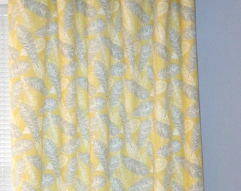 Yellow Feathers Curtains, Pair of Rod Pocket Panels, Premier Prints Flock Saffron Yellow Gray White, Choose Size