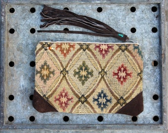 leather fringe Make Up Cosmetic Zip Bag . bohemian gypsy rustic zipper pouch .  Woodland Creek Keepsake Clutch