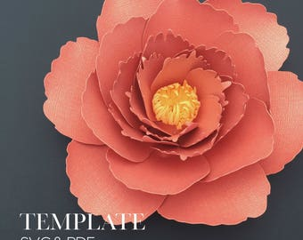 Peony TEMPLATE SVG & PDF (Digital file only)
