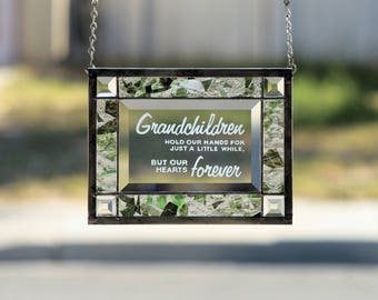 Stained Glass ~GRANDCHILDREN GARDEN~Stained Glass Panel,Stain Glass Window,Grandchild,Grandchildren,Grandparents,Grandparent, Ready to Ship
