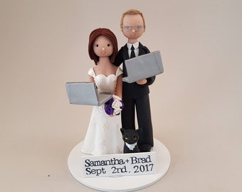 Unique Cake Toppers - Computer Geeks Personalized Wedding Cake Topper