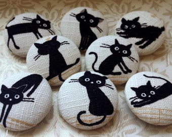 Black Cat Buttons - Set 1 OR 2 - Large Fabric-Covered Buttons - Beige & Black Covered Button Set - Japanese Fabric Buttons - Kitty Buttons