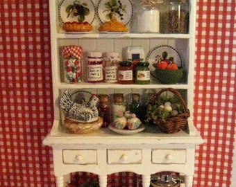 Dollhouse Country  Kitchen Hutch,  Miniature  Dresser,  Country, Miniature hutch, filled, Twelfh scale, dollhouse miniature