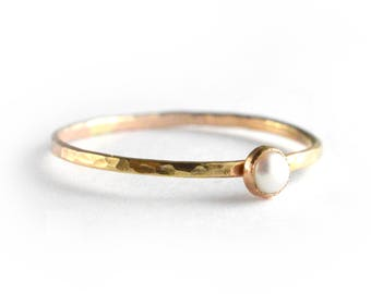 Pearl Ring, June Birthstone Ring, Stackng Ring