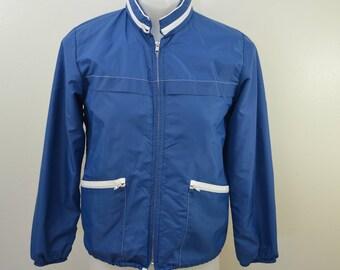 on sale Vintage WINDBREAKER Rain jacket coat USA made blue