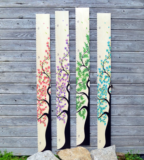 Tree Of Life Wooden Ruler Growth Chart / Kids Height Chart