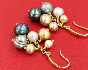 Pearl Earrings Multicolor Pearl Earrings Pearl Dangle Earrings Pearl Cluster Earrings Grey Pearl Black Pearl Champagne Pearl Silver Pearl