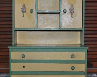 Vintage Toy Kitchen Cabinet Cupboard Green and Cream Paint on Wood