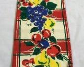 Vintage Tea Towel, Fruit Design Dish Towel, Red Yellow Blue, 1950s Linen, Table Runner, Vintage Kitchen