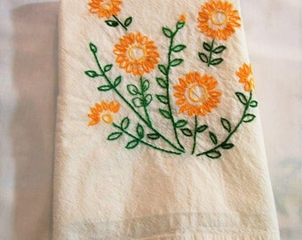 Dish Towel with Hand Embroidery, Yellow and Orange Flowers, Kitchen Towel, Old Fashion Dish Towel, Kitchen Dish Towel, Retro Kitchen
