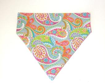 Pet Accessory - Neon and Gray Paisley - Over the Collar - Custom - Bandana, Bow Tie, Neck Tie, Flower